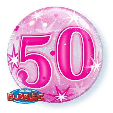 50 Pink Starburst Bubble Balloon £7.99