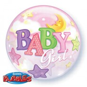 Baby Girl Moon and Stars Bubble Balloon £7.99