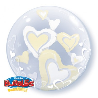 Floating Hearts Ivory Double Bubble Balloon  £10.99