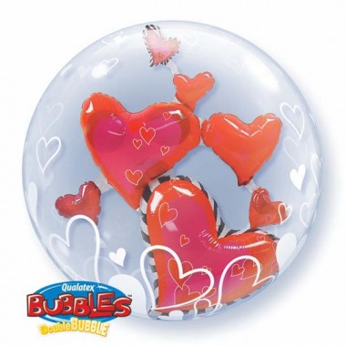 Floating Hearts Red Double Bubble Balloon  £10.99