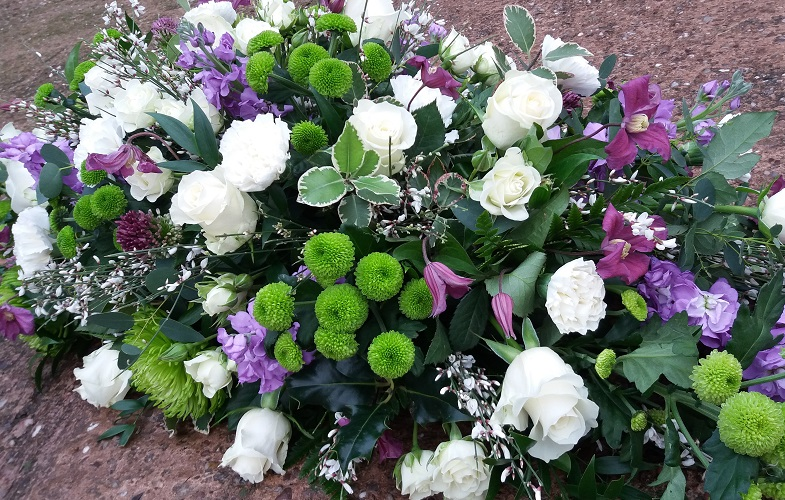 coffin,spray,funeral,white,lilac,purple,sympathy,tribute,florist