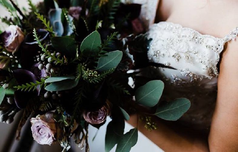 wedding, bouquet, bride, foliages, lilac, black, silver