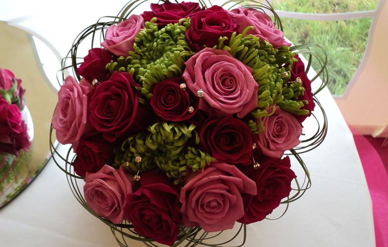 Pink and Red Rose Wedding Flowers