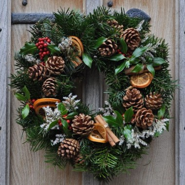 Wreath Holly and Spruce with Natural Decoration - From £15